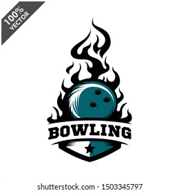 Bowling ball flame badge logo vector