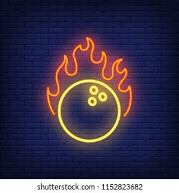 Bowling ball with flame neon sign. Yellow heavy ball in fire. Night bright advertisement. Vector illustration in neon style for game and entertainment