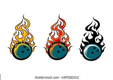 Bowling ball flame vector set of 3