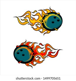 Bowling ball flame vector set of 2