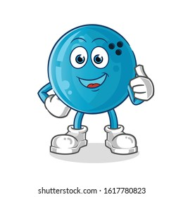 bowling ball happy thumbs up cartoon. cartoon mascot vector