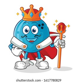 bowling ball king with crown and robe cartoon. cartoon mascot vector