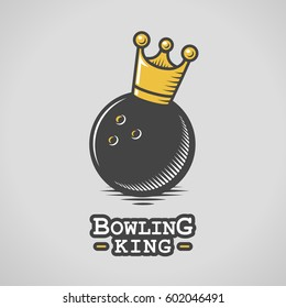 Bowling ball with king crown vector illustration in retro woodcut style