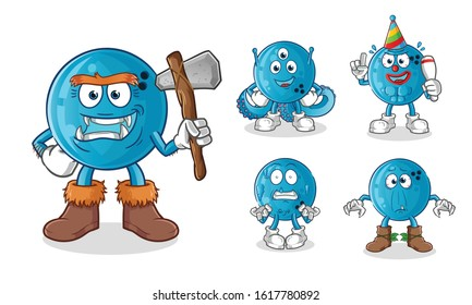 bowling ball monters, aliens and ghosts cartoon. cartoon mascot vector