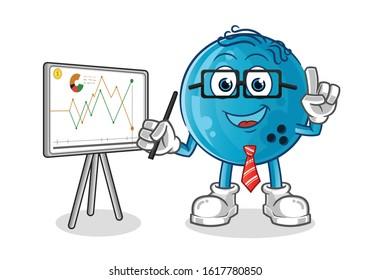 bowling ball percentage of shares, sales, and finance cartoon. cartoon mascot vector