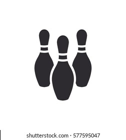 Bowling ball and pin icon. Bowling pins with ball icon. Bowling game. Simple icon skittles with ball. Logo template. Bowling club, tournaments. Sport icon.