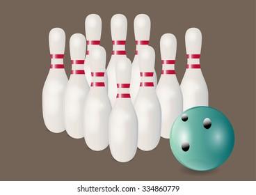 Bowling ball and pins ,Vector illustration