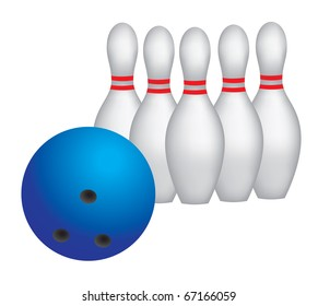 Bowling ball and six pins for a strike, realistic vector illustration, eps 10.