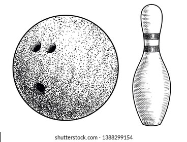 Bowling ball and skittle illustration, drawing, engraving, ink, line art, vector