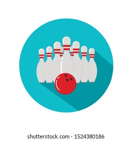 Bowling ball and skittles. Flat illustration of bowling vector icon. Ball game concept.