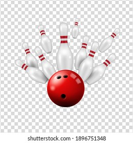 Bowling ball and skittles isolated on transparent background, vector ninepin strike on alley, bowling club sport and leisure entertainment center, realistic 3d red ball and skittle pins strike on lane
