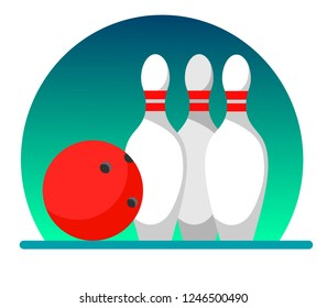 Bowling ball and skittles on a white background, illustration in flat style