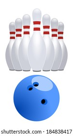 Bowling ball and skittles, pins. vector art image illustration, isolated on white background