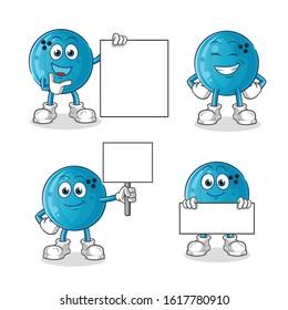 bowling ball smile holding board 4 poses cartoon. cartoon mascot vector