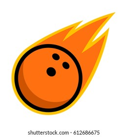 Bowling ball sport comet fire tail flying strike