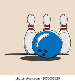 Bowling ball. Ball with three holes for fingers. Equipment for bowling. Vector illustration. A skittle with two strips. Bowling pin.