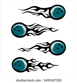bowling ball tribal flame set of 4