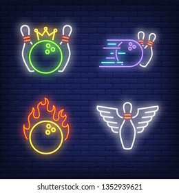 Bowling balls and skittles with wings neon signs set. Bowling club and leisure design. Night bright neon sign, colorful billboard, light banner. Vector illustration in neon style.
