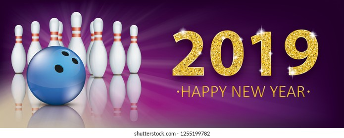 Bowling bann for the New Year 2019 bowling eve. Eps 10 vector file.