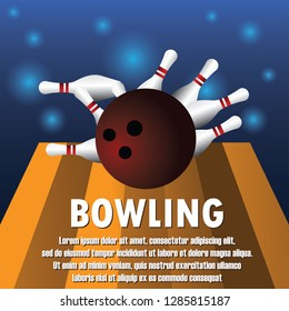 bowling banner for bowling tournament. vector illustration