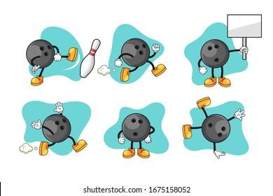 Bowling cartoon character set design