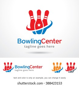 Bowling Center Logo Template Design Vector