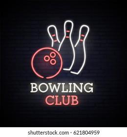 Bowling club. Neon bright sign. Logo. Light Banner. Bowling. Emblem. Vector image