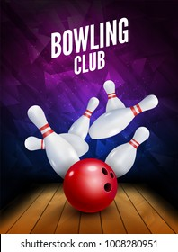 Bowling club poster with ball and bowling pins. Vector leisure background template.