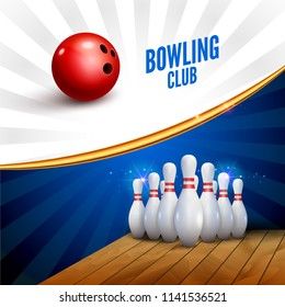 Bowling club poster with ball and bowling pins. Vector leisure sport background template.