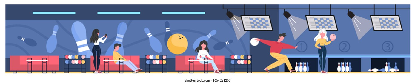 Bowling club room interior. People going bowling at game zone, spending time with friends. Flat vector illustration
