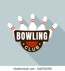 Bowling club skittles logo. Flat illustration of bowling club skittles vector logo for web design