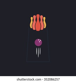 bowling Color vector icon on dark background
