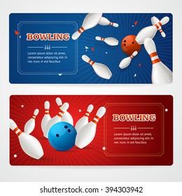 Bowling Colored Horizontal Banner Card Set. Vector illustration