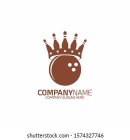 Bowling Crown Game Sport Logo, Icon or Emblem Design Template. - Vector