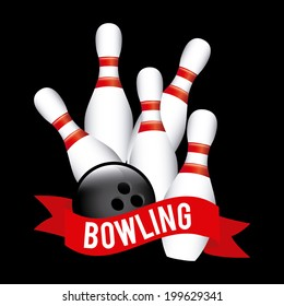 Bowling design over black background, vector illustration
