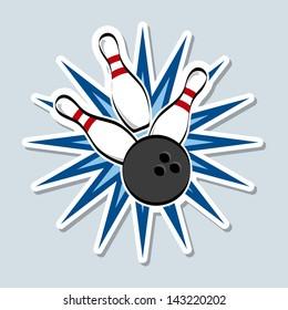 bowling design over blue background vector illustration