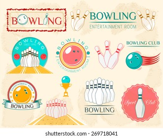 Bowling Design Set - Vector Illustration