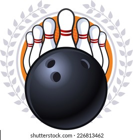 Bowling emblem cartoon vector illustration