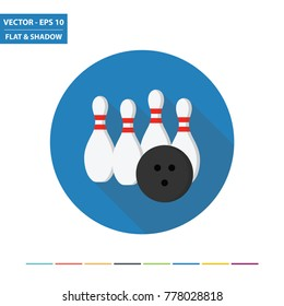 Bowling flat icon with long shadow. Vector Illustration.
