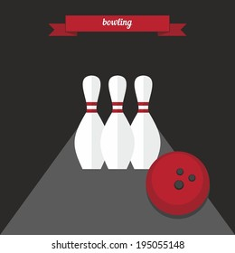 Bowling. Flat style design - vector
