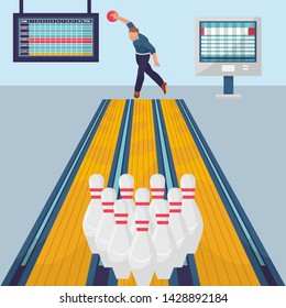 Bowling game banner template. Vector flat design illustration of bowler player with ball and skittles on bowling alley in a sport club with result monitors.