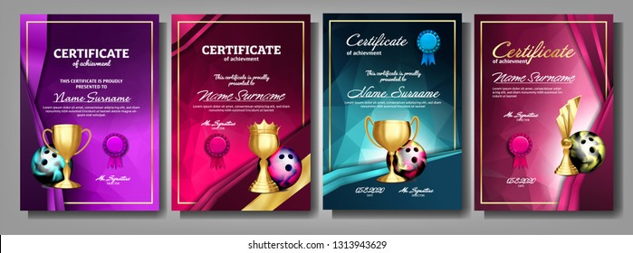 Bowling Game Certificate Diploma With Golden Cup Set Vector. Sport Award Template. Achievement Design. Honor Background. A4 Vertical. Champion. Best Prize. Winner Trophy. Template Illustration