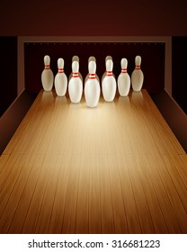 Bowling game with bowling lane ten pins and ball realistic vector illustration