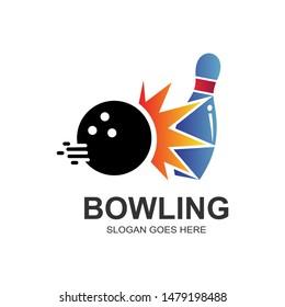 Bowling Game Logo Design Vector