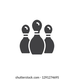 Bowling game pin vector icon. filled flat sign for mobile concept and web design. Bowling skittle simple solid icon. Symbol, logo illustration. Pixel perfect vector graphics