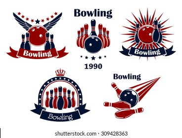 Bowling game retro icons or emblems with strike, balls, ninepins, wings, stars, rays, crown and ribbon banners