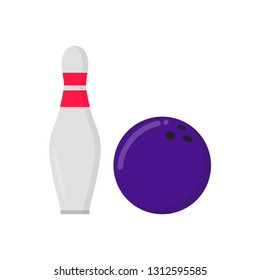 Bowling game round ball and skittle icon sign flat style design vector illustration. Bowling ball and pin isolated on white background