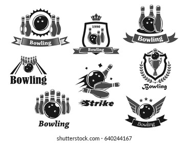 Bowling game sport club icon set. Bowling ball and ninepins on lane, strike and champion trophy cup symbol with heraldic shield and wreath, adorned by ribbon banner, star, wing and crown
