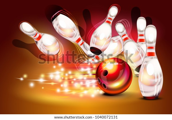 Bowling game strike over dark red background, red bowling ball crashing into the pins