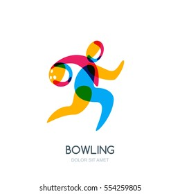 Bowling game vector logo, icon or emblem design. Running human with bowling ball in hand. Sport man isolated overlapping illustration